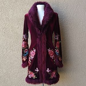 Betsey Johnson Long Velvet Faux Fur Floral Jacket